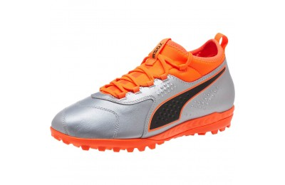 Puma PUMA ONE 3 Lth TT Men's Soccer CleatsSilver-Orange-Black Sales