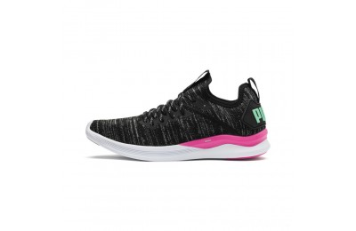 Puma IGNITE Flash evoKNIT Women's Training Shoes Black-PINK-Biscay Green Sales
