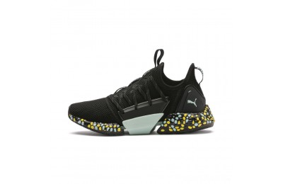 Puma HYBRID Rocket Runner Women's Running Shoes Black-Fair Aqua-Yellow Sales
