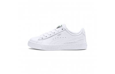 Puma Basket Classic Kids' Sneakers White- White Sales