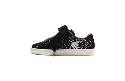 Puma Suede Heart Embossed Women's Sneakers Black- Black Sales