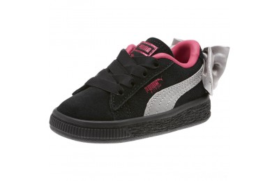 Puma Suede Bow Infant Sneakers Black-Fuchsia Purple Sales