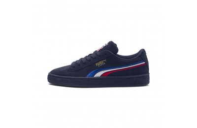 Puma Suede Classic Multicolour Embroidery JR Sneakers Peacoat-White-Red-Blue Sales