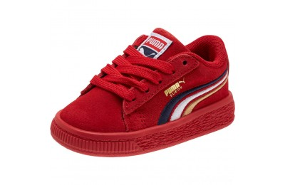 Puma Suede Classic Multicolour Embroidery Baby's Sneakers Red-Peacoat-White-Gold Sales