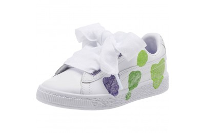 Puma Basket Heart Glitter Hearts Preschool Sneakers White-Prism Violet-Green Sales