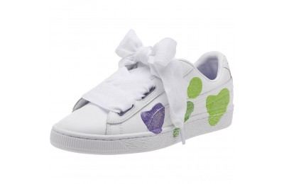 Puma Basket Heart Glitter Hearts JR Sneakers White-Prism Violet-Green Sales