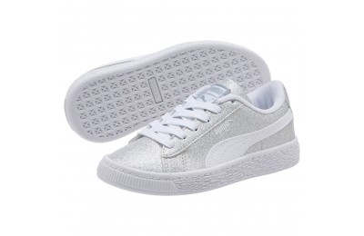Puma Basket Holiday Multi Glitz Preschool Sneakers Silver- White Sales