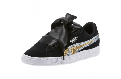 Puma Suede Heart Trailblazer Sequin Sneakers JR Black- Team Gold Sales