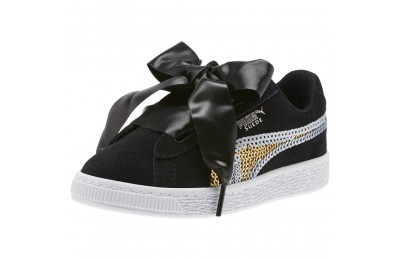 Puma Suede Heart Trailblazer Sequin Sneakers INF Black- Team Gold Sales