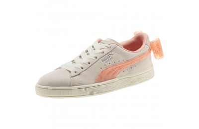 Puma Suede Jelly Bow Sneakers JRWhis White-Peach Bud-Silver Sales