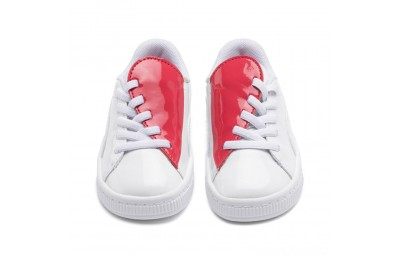 Puma Basket Crush Patent AC Sneakers PS White-Hibiscus Sales