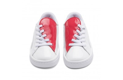 Puma Basket Crush Patent AC Sneakers INF White-Hibiscus Sales