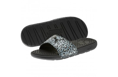 Puma Cool Cat Sport Leopard Print Women's Slides Black-Glacier Gray Sales