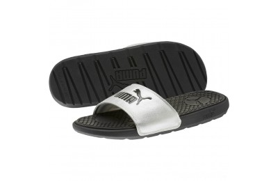 Puma Cool Cat Metallic Women's Slides Black- Silver Sales