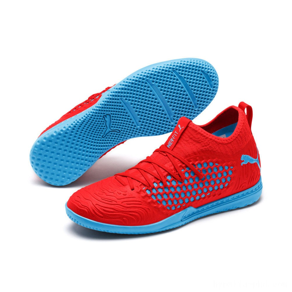 Puma FUTURE 19.3 NETFIT IT Men's Soccer Shoes Red Blast-Bleu Azur Sales
