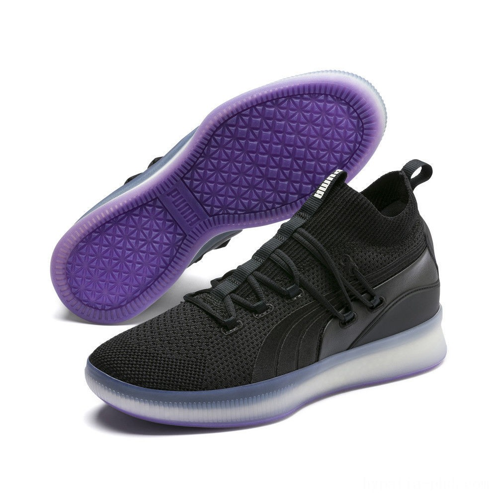 Puma Clyde Court Basketball Shoes Black-ELECTRIC PURPLE Sales