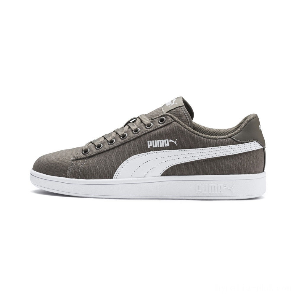 Puma PUMA Smash v2 Canvas Sneakers Charcoal Gray- White Sales