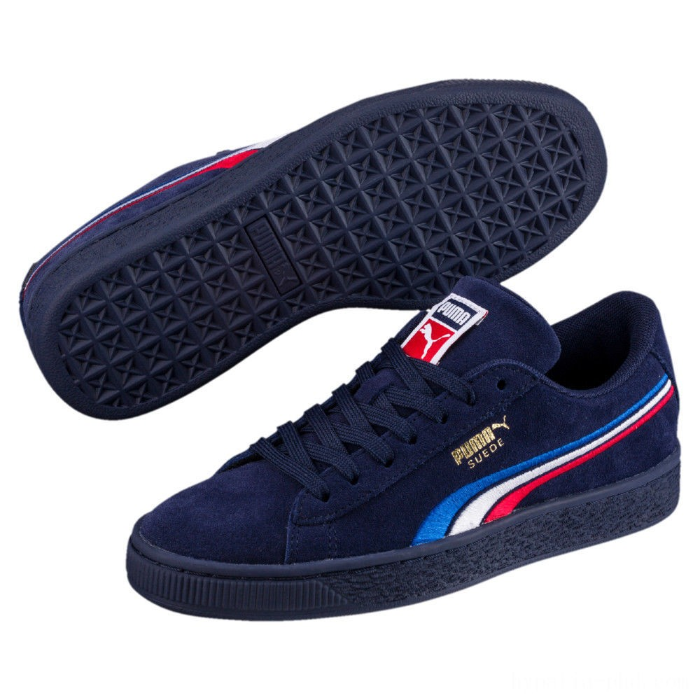 Puma Suede Classic Multicolour Embroidery Kid's Sneakers Peacoat-White-Red-Blue Sales