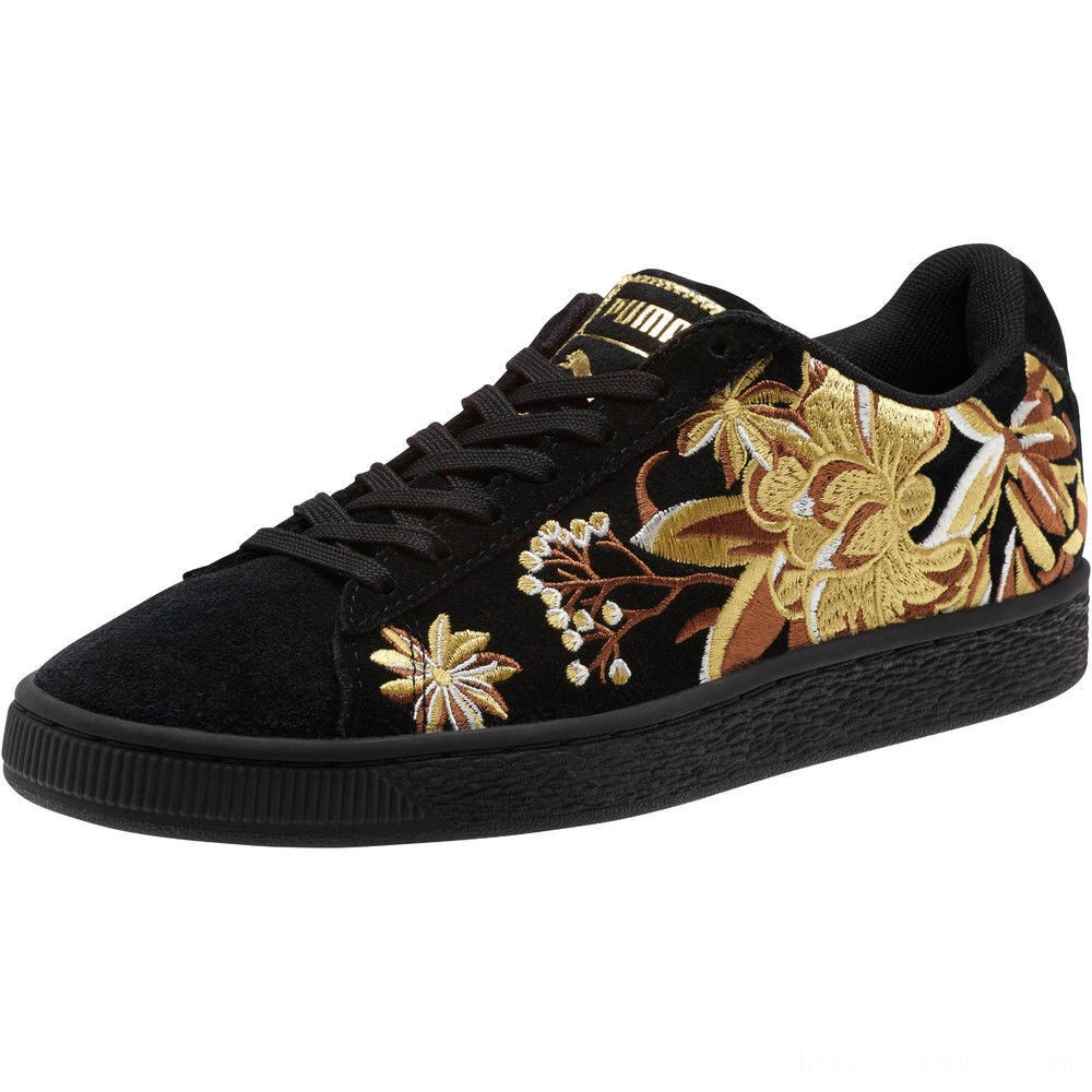 Puma Suede Hyper Embroidered Women's Sneakers Black- Team Gold Sales