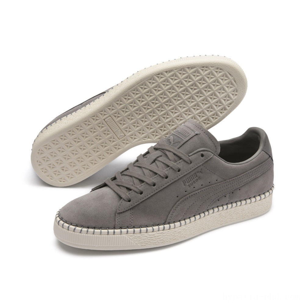 Puma Suede Classic Blanket Stitch Sneakers Charcoal Gray-Whisper White Sales