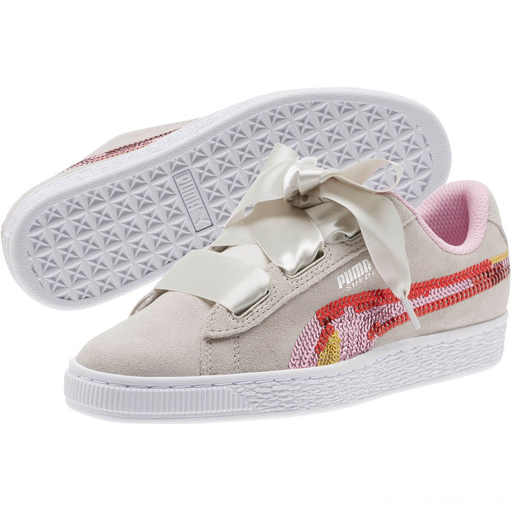 Puma Suede Heart Trailblazer Sequin Sneakers JRGray Violet-Pale Pink Sales