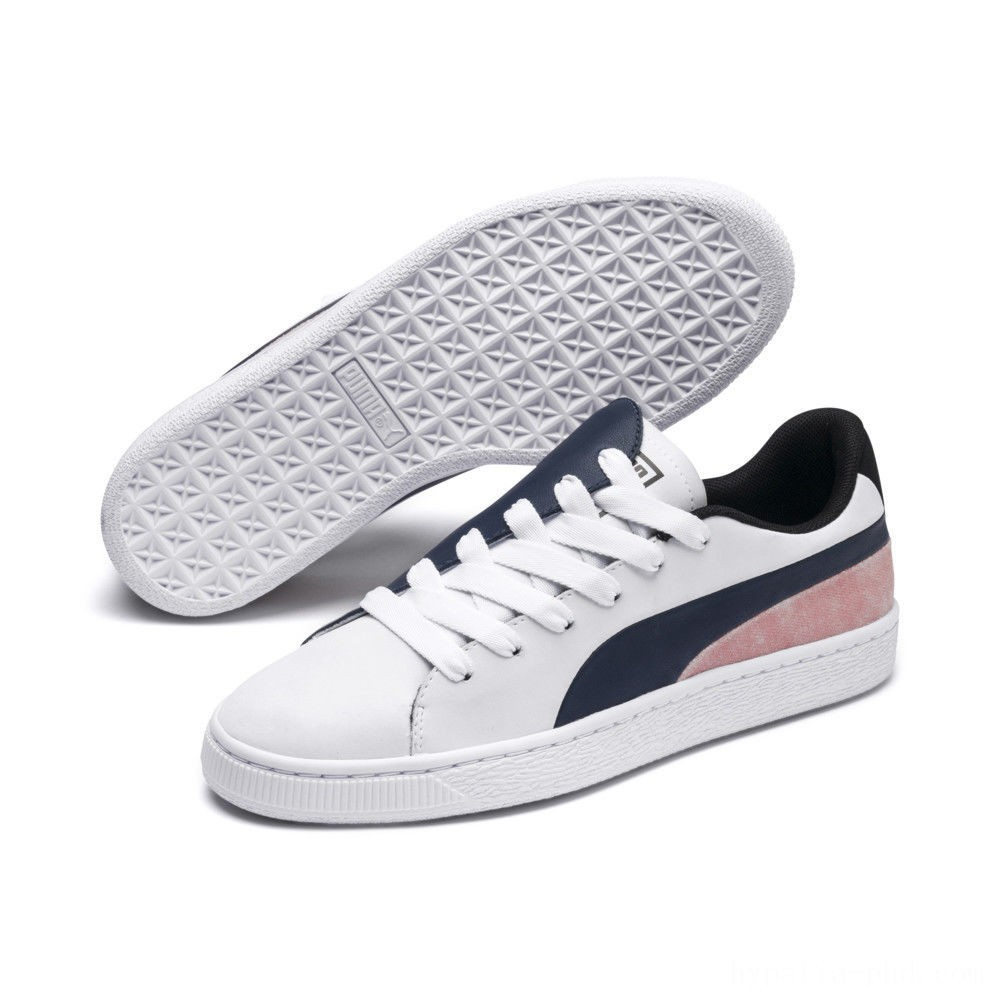 Puma Basket Crush Paris Women's Sneakers Dress Blues- White Sales