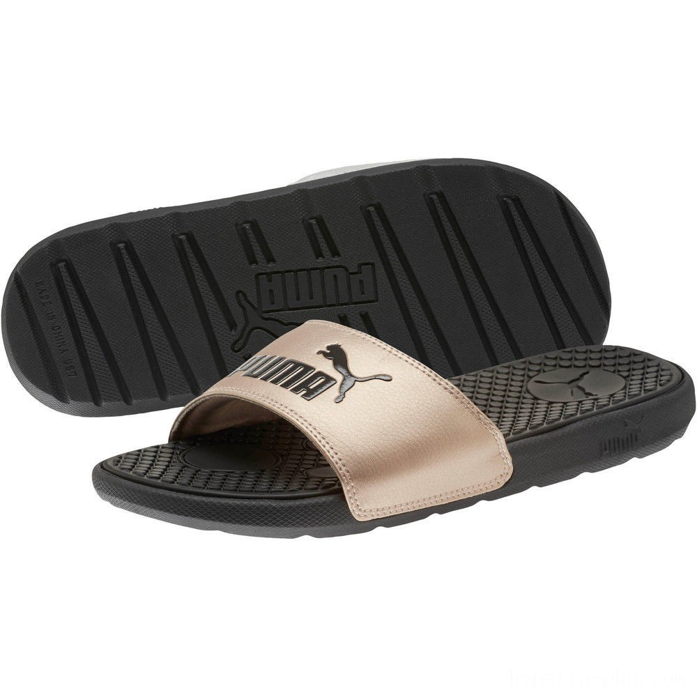 Puma Cool Cat Metallic Women's Slides Black-Rose Gold Sales